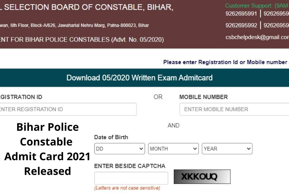 Candidates can download the Bihar Police Admit Card 2021 in right way : How To Download?